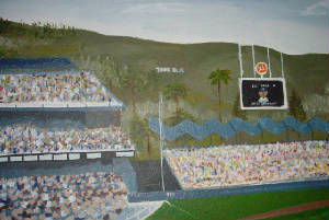 Sports themes for Dodger stadium wall mural